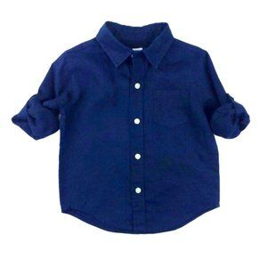 Janie & Jack Navy Linen Roll Tab Sleeve Button Up